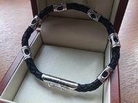 Кожаный плетеный браслет мужской с вставками