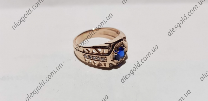 Мужская печатка стильная с синим камнем
