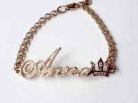 Золотой браслет с именем Анна и короной