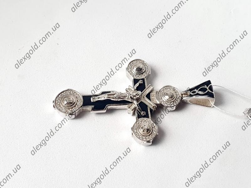 Крест оригинальный с черной и белой эмалью