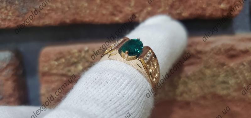 Мужская печатка зеленый камень овал