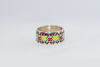 Кольцо с эмалью украинская вышивка