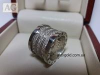 Широкое женское кольцо Булгари с камнями