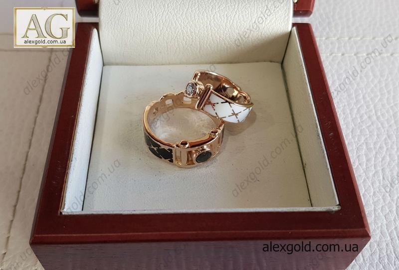 Парные обручальные кольца эмаль