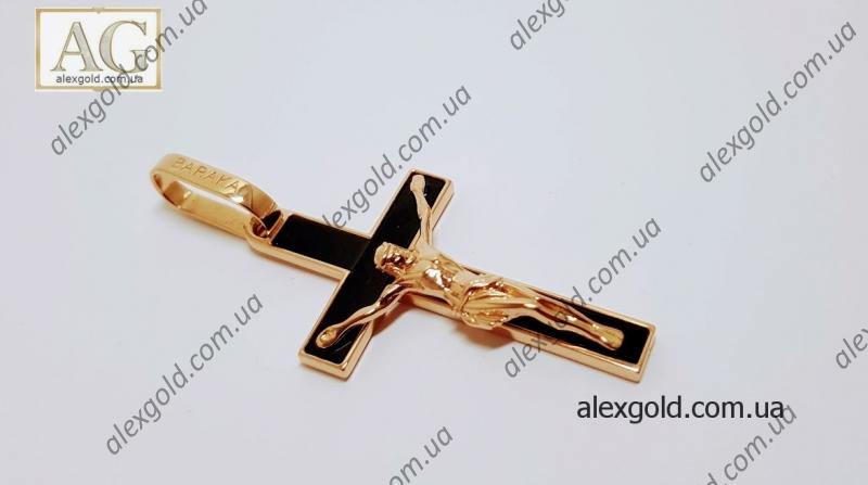 Золотой крест Baraka с ониксом