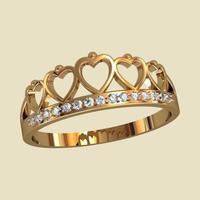 Кольцо с сердечками корона