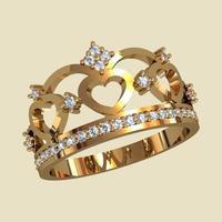 Кольцо в виде короны с сердцем