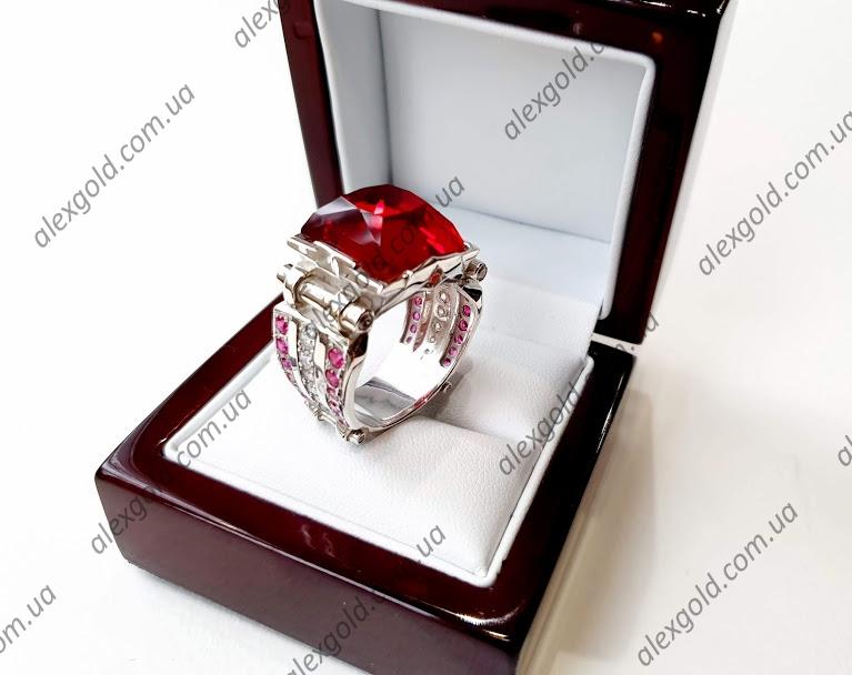 Перстень Принц с красным камнем серебро