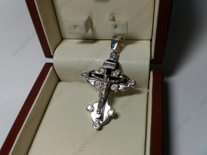 Крест с черным камнем мужской большой