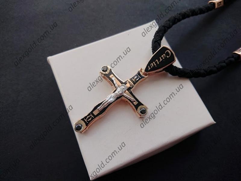Золотой крест с эмалью Картье 17 г