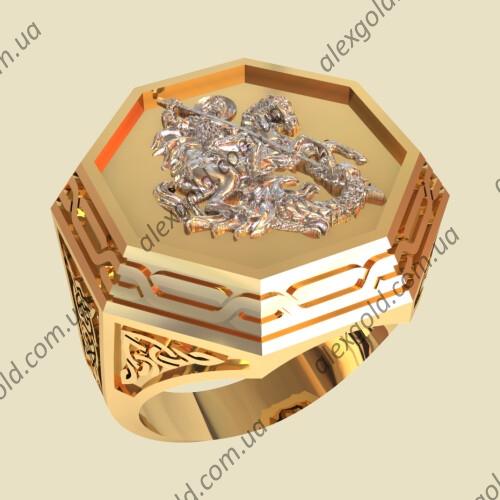 Печатка Георгий Победоносец золото серебро