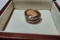 Кольцо женское переплет с камнями белое и красное золото