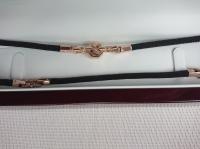 Шелковый шнурок 4 мм с делениями  с золотыми вставками и  замком Baraka