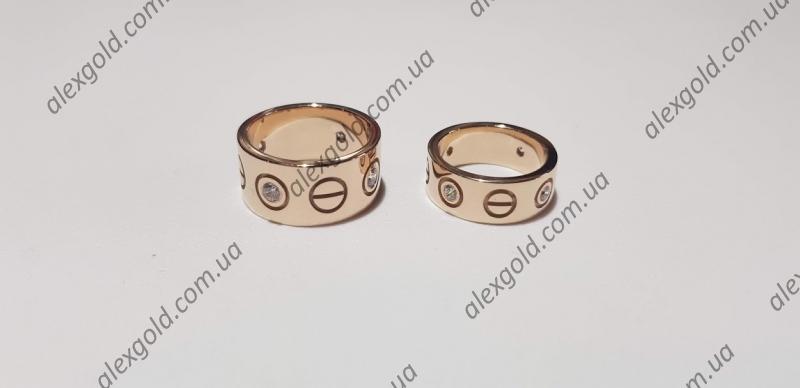 Широкие обручальные кольца Картье с камнями