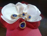 Золотые сережки капли с синими камнями